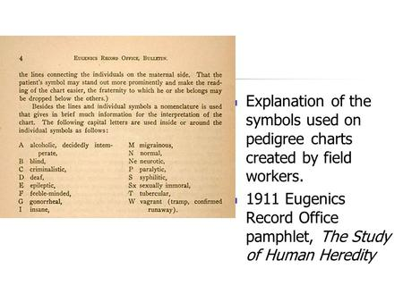 Explanation of the symbols used on pedigree charts created by field workers. 1911 Eugenics Record Office pamphlet, The Study of Human Heredity.