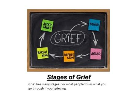 Stages of Grief Grief has many stages. For most people this is what you go through if your grieving.