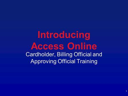 Introducing Access Online