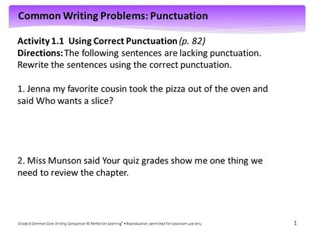 Activity 1.1  Using Correct Punctuation (p. 82)