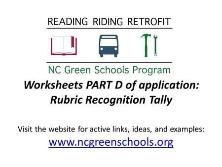 Worksheets PART D of application: Rubric Recognition Tally