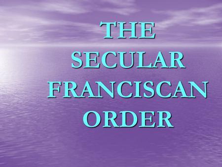 secular franciscan order fun manual