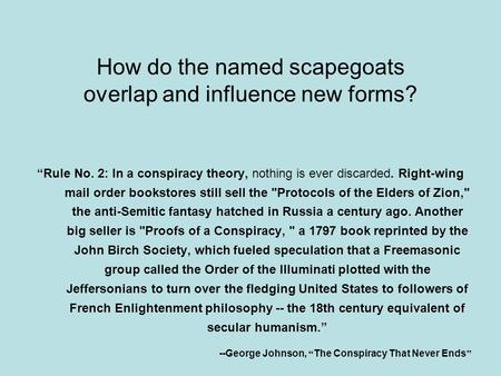 "How do the named scapegoats overlap and influence new forms? ""Rule No. 2: In a conspiracy theory, nothing is ever discarded. Right-wing mail order bookstores."