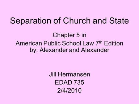 issue of church and state