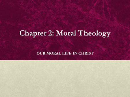 "christian moral theology in the light Relationship between theology and ethics (approach and reflection) as alister mcgrath has written, ""good doctrine makes good ethics and such doctrine seeks to preserve christian distinctiveness""21 theology and ethics have taken shape alongside each other and when there is a good theology one can expect a good ethic."