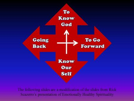 The following slides are a modification of the slides from Rick Scazerro's presentation of Emotionally Healthy Spirituality.