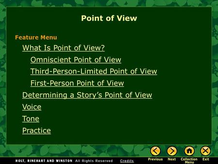 What Is Point of View? Omniscient Point of View Third-Person-Limited Point of View First-Person Point of View Determining a Story's Point of View Voice.