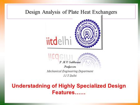 Design Analysis of Plate Heat Exchangers
