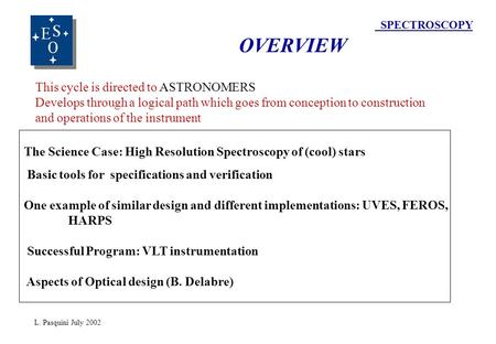 SPECTROSCOPY OVERVIEW The Science Case: High Resolution Spectroscopy of (cool) stars Basic tools for specifications and verification One example of similar.