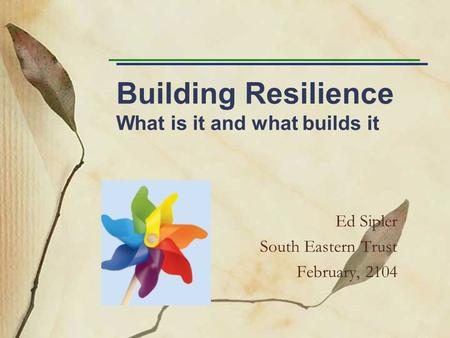 Building Resilience What is it and what builds it Ed Sipler South Eastern Trust February, 2104.