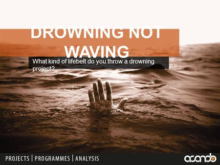 What kind of lifebelt do you throw a drowning project? DROWNING NOT WAVING.