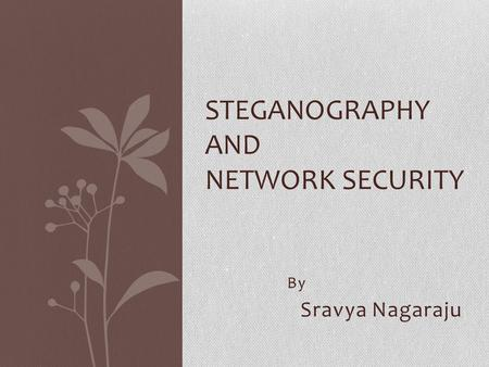 By Sravya Nagaraju STEGANOGRAPHY AND NETWORK SECURITY.