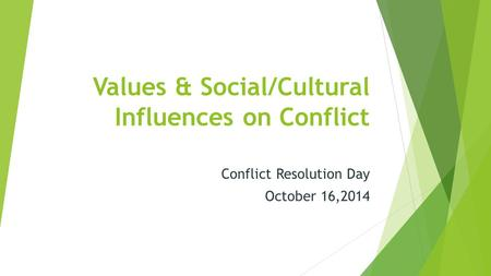 Values & Social/Cultural Influences on Conflict Conflict Resolution Day October 16,2014.