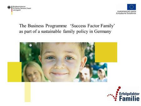 The Business Programme 'Success Factor Family' as part of a sustainable family policy in Germany.