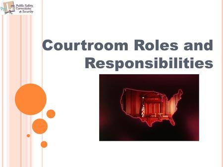Courtroom Roles and Responsibilities. OBJECTIVES The student will be able to: Identify career opportunities in the court systems. Examine the roles of.