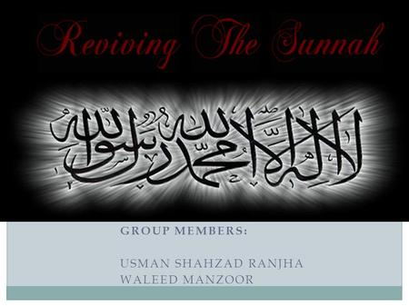 GROUP MEMBERS: USMAN SHAHZAD RANJHA WALEED MANZOOR.