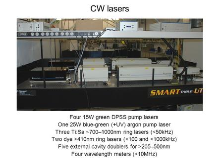 CW lasers Four 15W green DPSS pump lasers One 25W blue-green (+UV) argon pump laser Three Ti:Sa ~700–1000nm ring lasers (<50kHz) Two dye >410nm ring lasers.