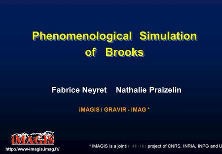 * iMAGIS is a joint project of CNRS, INRIA, INPG and UJF. Phenomenological Simulation of Brooks Fabrice Neyret Nathalie Praizelin iMAGIS / GRAVIR - IMAG.