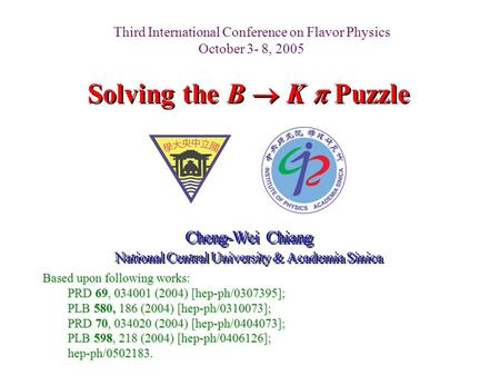 Solving the B  K  Puzzle Cheng-Wei Chiang National Central University & Academia Sinica Cheng-Wei Chiang National Central University & Academia Sinica.