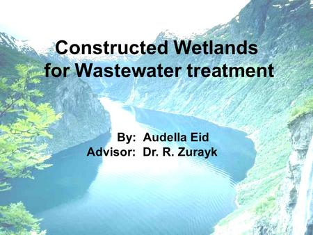 By: Audella Eid Advisor: Dr. R. Zurayk Constructed Wetlands for Wastewater treatment.