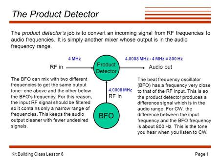 Kit Building Class Lesson 6Page 1 The Product Detector The product detector's job is to convert an incoming signal from RF frequencies to audio frequencies.