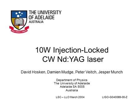 10W Injection-Locked CW Nd:YAG laser