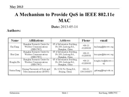 Submission Kai Kang, SHRCWC May 2013 A Mechanism to Provide QoS in IEEE 802.11e MAC Date: 2013-05-14 Authors: Slide 1.
