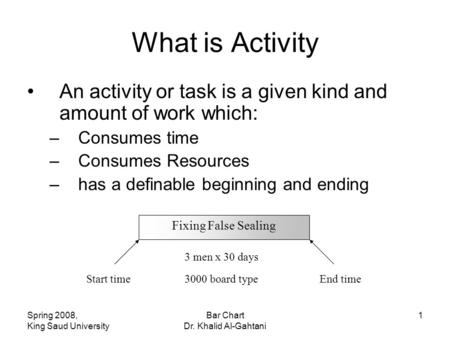 Spring 2008, King Saud University Bar Chart Dr. Khalid Al-Gahtani 1 What is Activity An activity or task is a given kind and amount of work which: –Consumes.