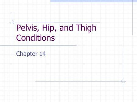 Pelvis, Hip, and Thigh Conditions Chapter 14. Pelvis Sacrum Coccyx Innominate bone Ilium Ischium Pubis Collectively protect the inner organs, bear weight,