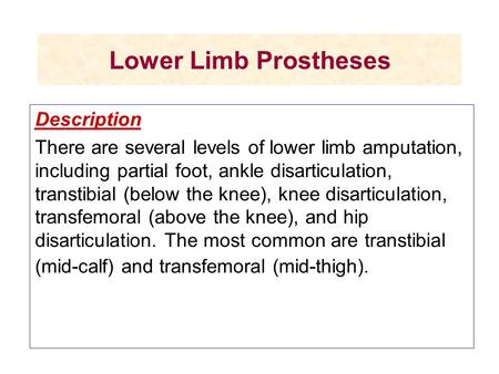 Lower Limb Prostheses Description There are several levels of lower limb amputation, including partial foot, ankle disarticulation, transtibial (below.