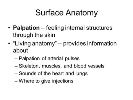 "Surface Anatomy Palpation – feeling internal structures through the skin ""Living anatomy"" – provides information about Palpation of arterial pulses Skeleton,"