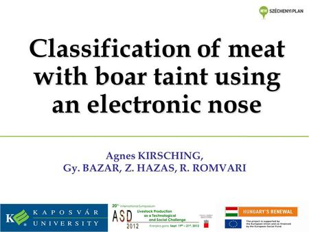 Classification of meat with boar taint using an electronic nose