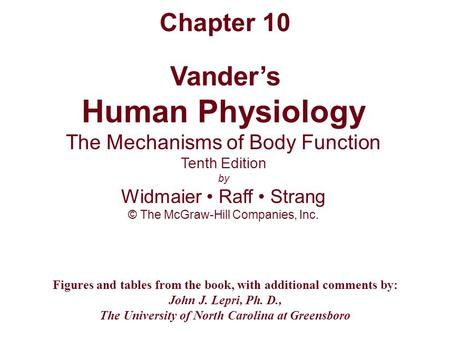 Vander's Human Physiology The Mechanisms of Body Function Tenth Edition by Widmaier Raff Strang © The McGraw-Hill Companies, Inc. Figures and tables from.