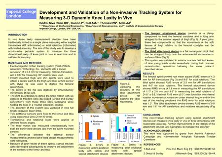 Development and Validation of a Non-invasive Tracking System for Measuring 3-D Dynamic Knee Laxity In Vivo Boddu Siva Rama KR 1, Cuomo P 2, Bull AMJ 3,