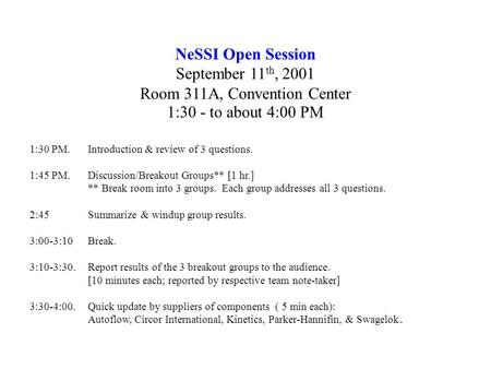 NeSSI Open Session September 11 th, 2001 Room 311A, Convention Center 1:30 - to about 4:00 PM 1:30 PM. Introduction & review of 3 questions. 1:45 PM. Discussion/Breakout.