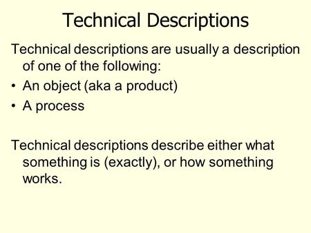 objective description of a technical object