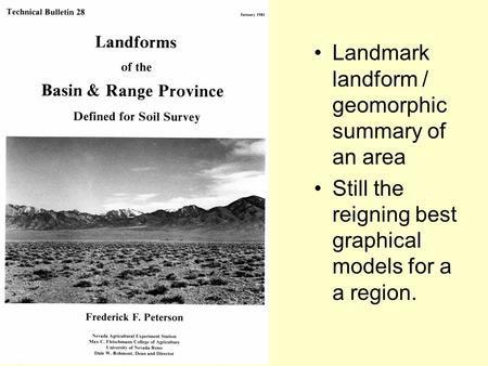 Landmark landform / geomorphic summary of an area Still the reigning best graphical models for a a region.