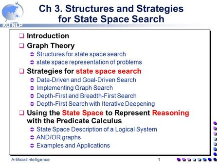 KU NLP Artificial Intelligence1 Ch 3. Structures and Strategies for State Space Search q Introduction q Graph Theory  Structures for state space search.