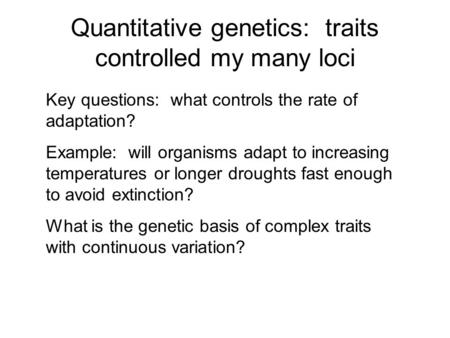 evolutionary quantitative genetics essay