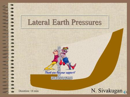 N. Sivakugan Duration: 18 min SIVA Copyright©2001 2 Geotechnical applications K 0, active & passive states Rankine's earth pressure theory Design of.