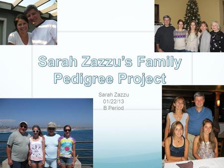 Sarah Zazzu 01/22/13 B Period. Intro My family lives all around the country. My mom's brothers live in New Jersey and North Carolina, while almost all.