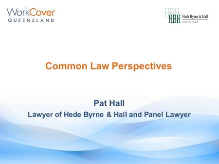 Common Law Perspectives Pat Hall Lawyer of Hede Byrne & Hall and Panel Lawyer.