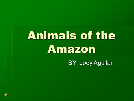 Animals of the Amazon BY: Joey Aguilar. The Anaconda  The world's biggest snake is a fearsome predator and in the wild spends most of its time in water.