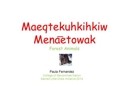 Maeqtekuhkihkiw Menaetowak Forest Animals Paula Fernandez College of Menominee Nation Sacred Little Ones Initiative 2013.