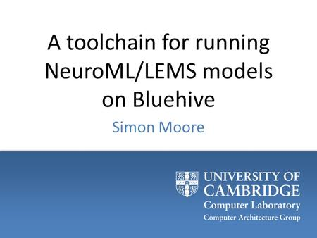 A toolchain for running NeuroML/LEMS models on Bluehive Simon Moore.