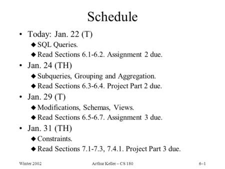 Winter 2002Arthur Keller – CS 1806–1 Schedule Today: Jan. 22 (T) u SQL Queries. u Read Sections 6.1-6.2. Assignment 2 due. Jan. 24 (TH) u Subqueries, Grouping.
