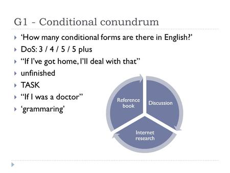 "G1 - Conditional conundrum  'How many conditional forms are there in English?'  DoS: 3 / 4 / 5 / 5 plus  ""If I've got home, I'll deal with that""  unfinished."