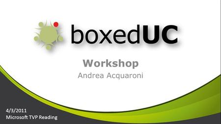 Workshop Andrea Acquaroni 4/3/2011 Microsoft TVP Reading.