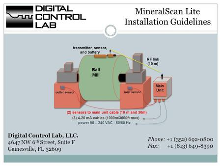 MineralScan Lite Installation Guidelines Digital Control Lab, LLC. 4647 NW 6 th Street, Suite F Gainesville, FL 32609 Main Unit power 90 – 240 VAC 50/60.