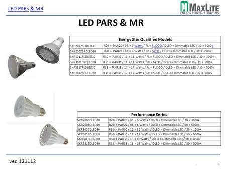 ENERGY EFFICIENT LIGHTING LED PARS & MR ver. 121112 LED PARsLED PARs & MR& MR.1.1 Energy Star Qualified Models SKR2007FLDLED30 SKR2007SPDLED30 SKR3011FLDLED30R30.